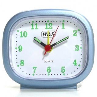 W&S 600105 Wecker Uhr blau-weiß Analog Licht Alarm