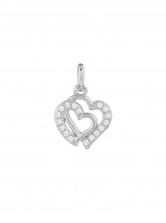 XENOX XS3418 Damen Anhänger Herzen Sterling-Silber 925 Silber Weiß