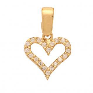 Basic Gold HZ05 Damen Anhänger Herz 14 Karat (585) Gelbgold Gold weiß