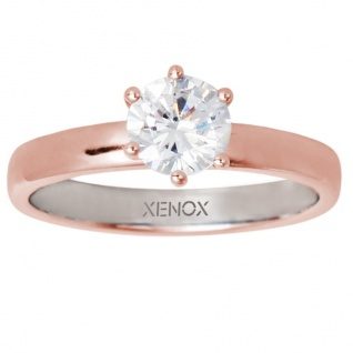 XENOX XS7356R Damen Ring Silver Circle rosé Rose weiß 54 (17.2)