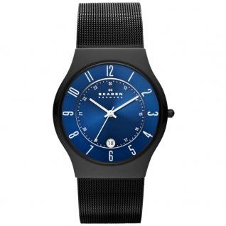 Skagen GRENEN Uhr Herrenuhr Edelstahl Datum schwarz blau