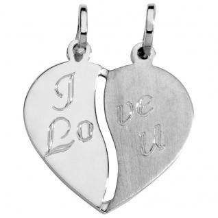 Basic Silber SL18 Damen Anhänger Partneranhänger Herz Silber