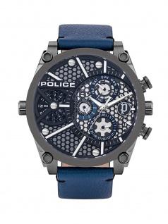 POLICE PL.15381JSU/61B VIGOR Uhr Herrenuhr Lederarmband Datum Blau