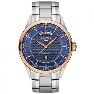ROAMER 508293 SRGM2 Superior Uhr Herrenuhr Edelstahl Datum silber
