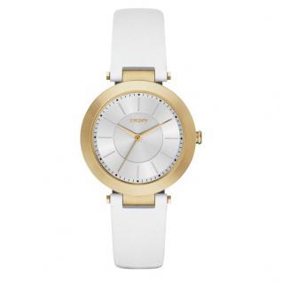 DKNY STANHOPE Uhr Damenuhr Lederarmband weiß gold
