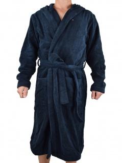 Tommy Hilfiger Herren Bademantel mit Kapuze Hooded Bathrobe XL Blau