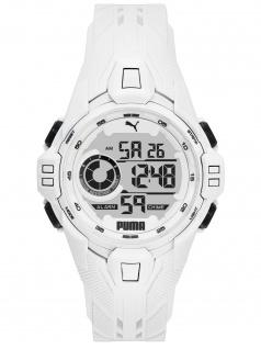 PUMA P5039 Uhr Herrenuhr Plastik Datum Alarm weiß