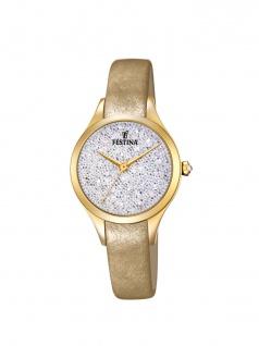 FESTINA F20410/1 Uhr Damenuhr Lederarmband Gold