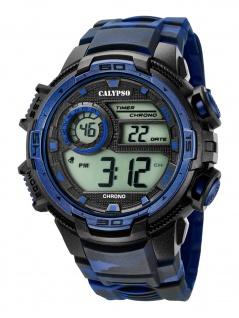 Calypso K5723/1 Chrono Uhr Herrenuhr Kunststoff Datum Alarm blau