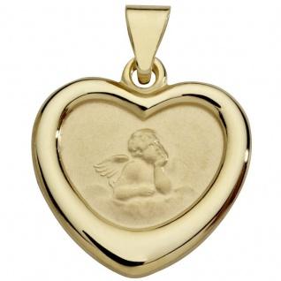 Basic Gold EN32 Kinder Anhänger Herz Schutzengel 14 Karat (585) Gold
