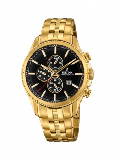 FESTINA F20418/3 Chronograph Uhr Herrenuhr Edelstahl Chrono Datum Gold