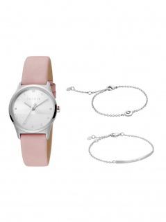 Esprit ES1L092L0035 Blite Silver Pink Set Uhr Damenuhr Leder Rosa