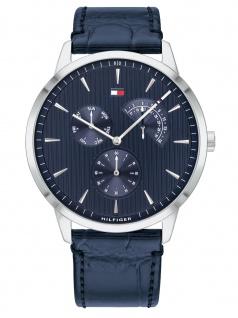 Tommy Hilfiger 1710387 BRAD Uhr Herrenuhr Lederarmband Datum Blau