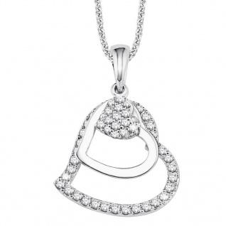 s.Oliver 9082575 Damen Collier Herzen Silber Weiß 45 cm