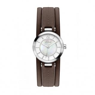 s.Oliver SO-3276-LQ Uhr Damenuhr Lederarmband Braun