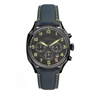 s.Oliver SO-3181-LC Chronograph Uhr Herrenuhr Lederarmband Datum Blau
