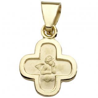 Basic Gold EN01 Kinder Anhänger Kreuz Schutzengel 14 Karat (585) Gold