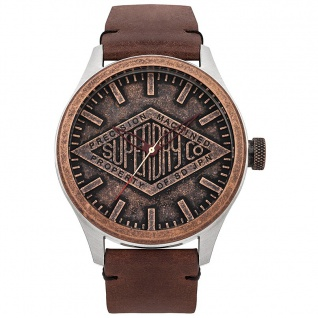 Superdry COPPER LABEL Uhr Herrenuhr Lederarmband braun
