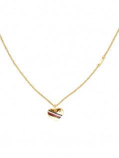 Tommy Hilfiger 2780126 Damen Collier Herz CASUAL CORE Gold Weiß 49 cm