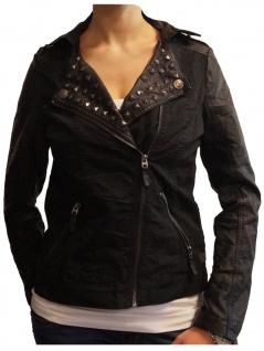 Jacke Übergangsjacke Damen Fresh Made Bikerjacke Schwarz Gr. XL