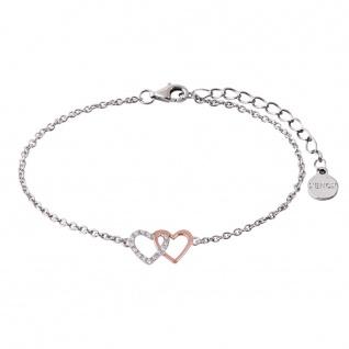 XENOX XS2929R Damen Armband Herz Happy Hour Bicolor Rose weiß 18, 5 cm