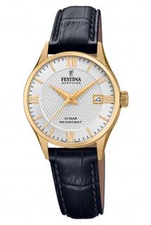Festina F20011/1 Schweitzer Uhrwerk Uhr Damenuhr Leder Datum schwarz