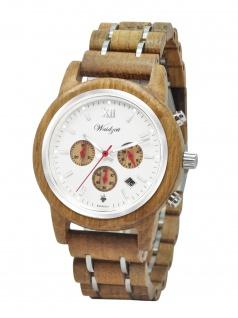 Waidzeit YR01 Barrique Chronograph Reserve Uhr Holz Datum Braun