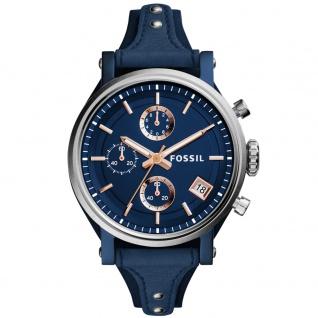 Fossil ES4113 Chronograph Uhr Damenuhr Lederarmband Chrono Datum Blau