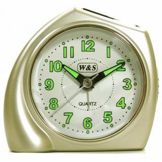 W&S 200902 Wecker Uhr champagner-weiß leise Sekunde Analog Licht Alarm