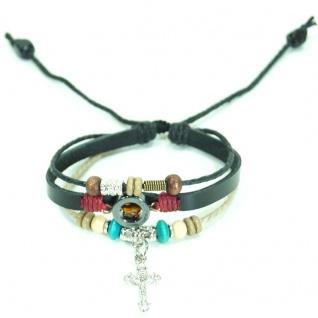 CJBB4407 Damen Armband Kreuz Leder schwarz