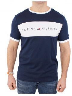 Tommy Hilfiger Herren T-Shirt Kurzarm CN Tee Logo Flag Blau M