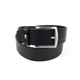 Tommy Hilfiger Herrengürtel New Denton Belt Schwarz Leder Gürtel 85 cm