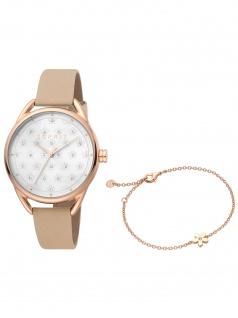 Esprit ES1L177L0055 Debi Flower Cream Set Uhr mit Armband Uhr Damenuhr