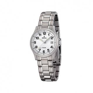 FESTINA F16459/1 KLASSIK Uhr Damenuhr Titan Datum silber