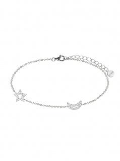 XENOX XS1522 Damen Armband Stern Mond Moonwalk Silber Weiß 18, 5 cm