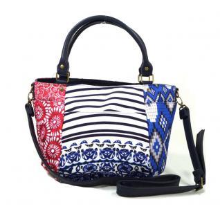 Desigual Sevilla Kimera Blau Rot Weiß Handtasche Tasche Henkeltasche - Vorschau 4
