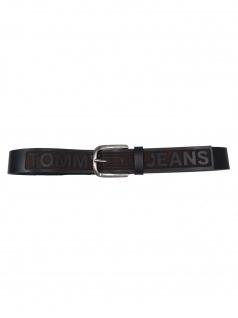 Tommy Hilfiger Herren Gürtel Tjm Logo Belt Leder 110cm Schwarz
