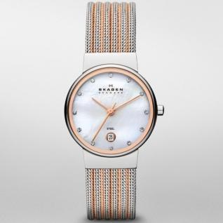 Skagen 355SSRS CLASSIC Uhr Damenuhr Edelstahl Datum perlmutt Zirkonia
