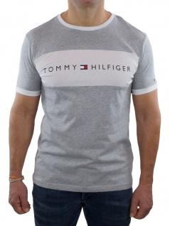 Tommy Hilfiger Herren T-Shirt Kurzarm CN Tee Logo Flag Grau S
