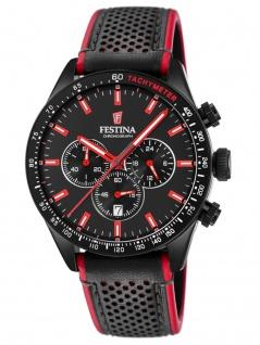 FESTINA F20359/4 Uhr Herrenuhr Lederarmband Chrono Datum Schwarz