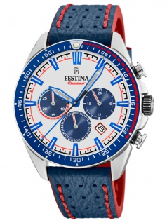 FESTINA F20377/1 Chronograph Herrenuhr Lederarmband Chrono Datum Blau