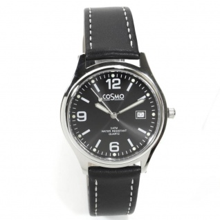 Cosmo 02063RLB-schwarz-1 Uhr Herrenuhr Lederarmband Datum schwarz