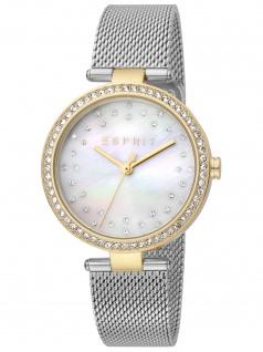 Esprit ES1L199M1045 Roselle Silver Gold Mesh Uhr Damenuhr Datum silber