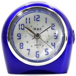 W&S 22318-08 Wecker Uhr blau-weiß Analog Licht Alarm - Vorschau 1