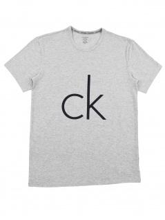 Calvin Klein Herren T-Shirt Kurzarm S/S Crew Neck Logo Grau S