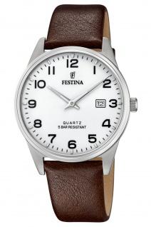 Festina F20512/1 Uhr Herrenuhr Lederarmband Datum braun