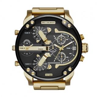 Diesel MR DADDY Chronograph Uhr Herrenuhr Edelstahl Datum gold schwarz