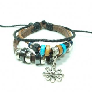 CJBB6710 Damen Armband Blume Surfer Armband Leder braun