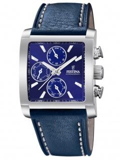 FESTINA F20424/2 Chronograph Uhr Herrenuhr Lederarmband Chrono Blau
