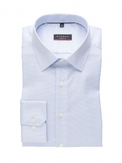 Eterna Herren Hemd Langarm Modern Fit Natté strukturiert Blau XL/43